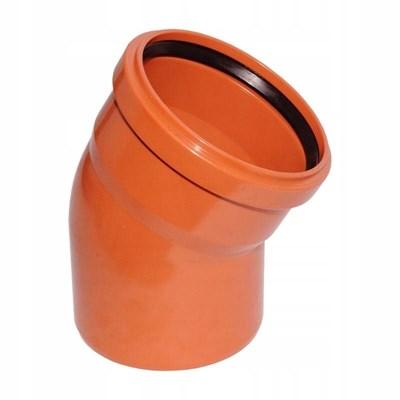 Отвод канализационный D110x15гр., цвет оранжевый - фото 6344