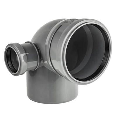 Отвод канализационный D110х50x45гр. левый, цвет серый - фото 6410