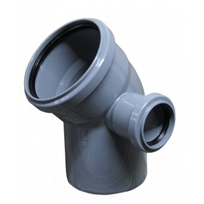 Отвод канализационный D110х50x45гр. правый, цвет серый - фото 8273