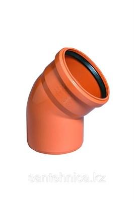 Отвод канализационный D160x15гр., цвет оранжевый - фото 8275