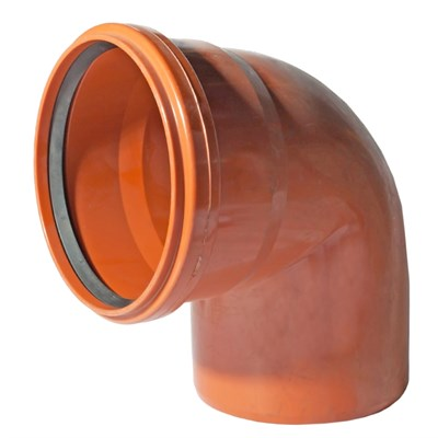 Отвод канализационный 90 град. DN 110 нар., цвет оранжевый - фото 8278
