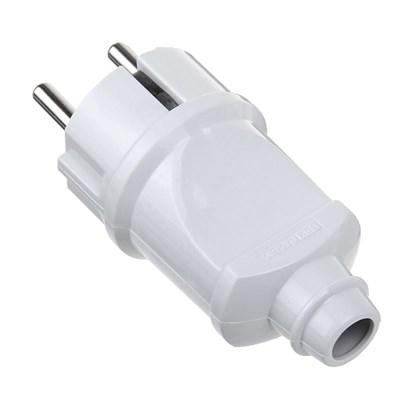 Электрическая вилка прямая с з/к (16A), белая - фото 8433