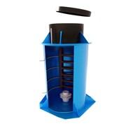 ЭКОБАТ Кессон пластиковый  тип 4 с муфтой, с лестницей, круглый, 1500х2000, 800х500