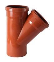Тройник канализационный D110x110x87гр., цвет оранжевый