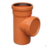Ревизия канализационная с крышкой D110, цвет оранжевый