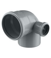 Отвод канализационный D110х50x87гр. правый, цвет серый